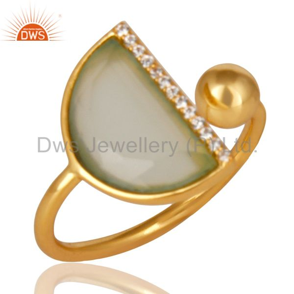 Aqua Chalcedony Half Moon Ring Cz Studded 14K Gold Plated Sterling Silver Ring