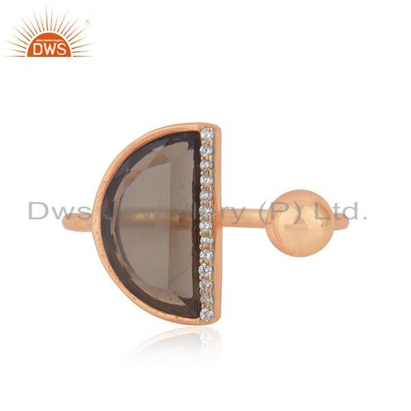 CZ Smoky Quartz Gemstone Rose Gold Plated Silver Ring Jewelry
