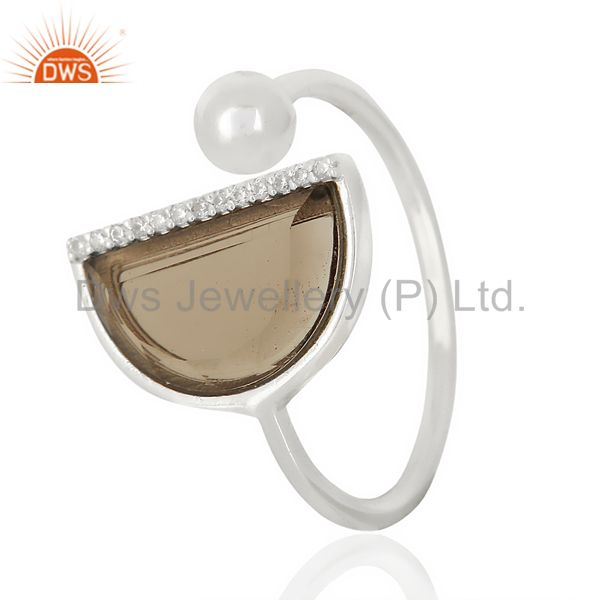 Smoky Topaz Half Moon Ring Cz Studded92.5 Sterling Silver Wholesale Ring Jewelry