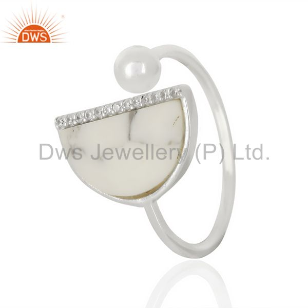 Howlite Half Moon Ring Cz Studded92.5 Sterling Silver Wholesale R