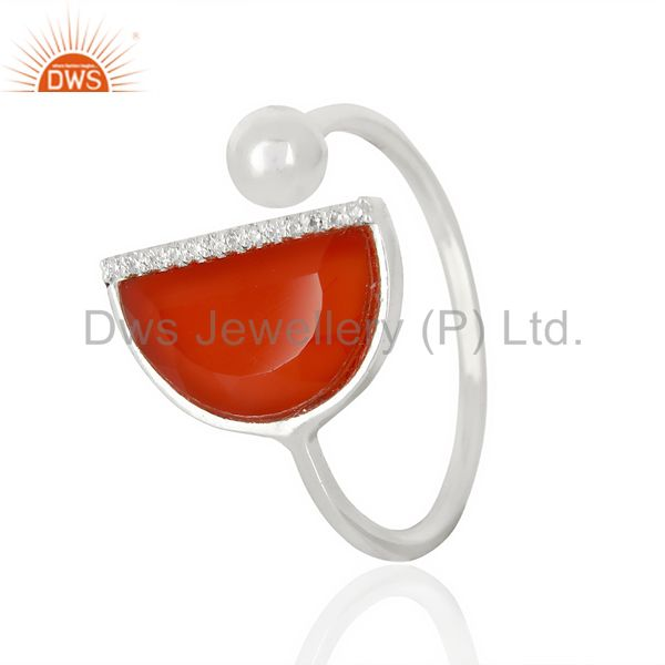 Red Onyx Half Moon Ring Cz Studded92.5 Sterling Silver Wholesale R