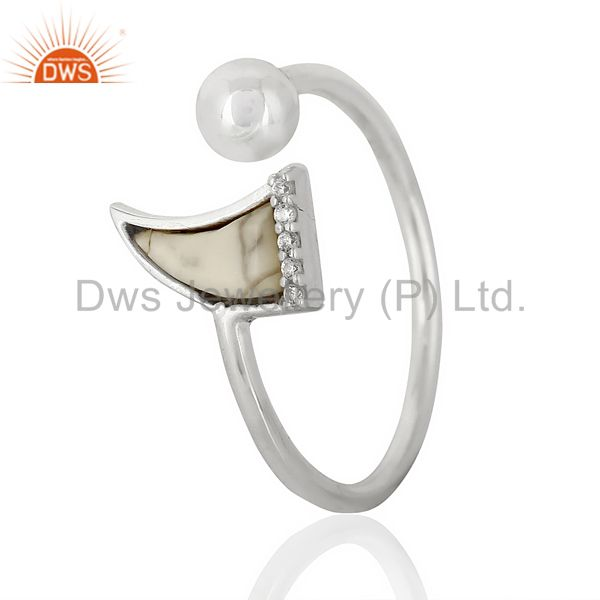 Howlite Horn Ring Cz Studded Ball Openable Ring Sterling Silver Ring