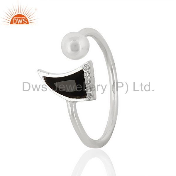 Black Onyx Horn Ring Cz Studded Ball Openable Ring Sterling Silver Ring