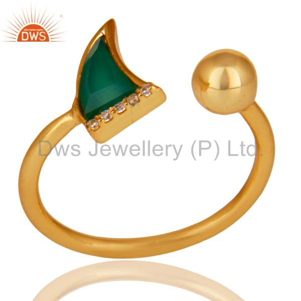 Green Onyx Horn Ring Cz Studded Ball Ring Gold Plated Sterling Silver Ring