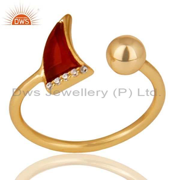 Red Onyx Horn Ring Cz Studded Ball Ring Gold Plated Sterling Silver Ring