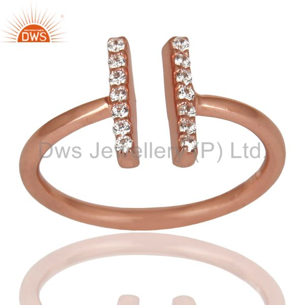 Cz Studded Parallel Ring Openable Parallel Ring Rose GoldPlated 92.5 Silver Ring