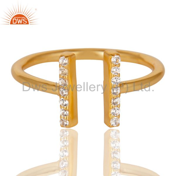Cz Studded Parallel Ring Openable Parallel Ring Gold Plated 92.5 Silver Ring