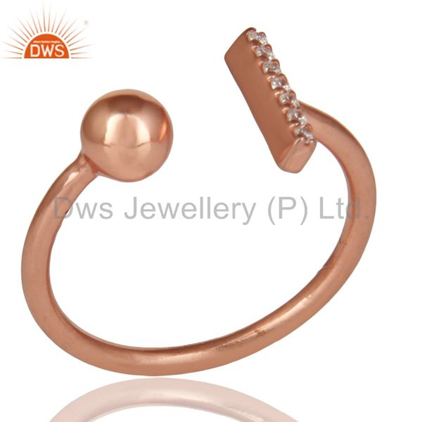 CZ Gemstone Stackable 14K Rose Gold Plated 925 Sterling Silver Ring Jewelry