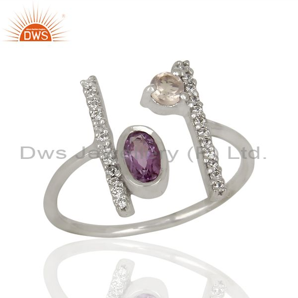 Amethyst Adjustable Parallel Bar White Rhodium Plated  High Finish Silver Ring