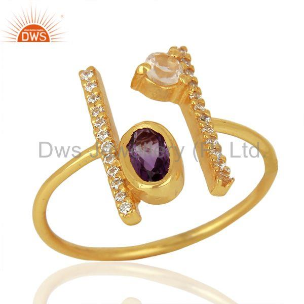 Amethyst Adjustable Parallel Bar 14K Gold Plated High Finish Silver Ring