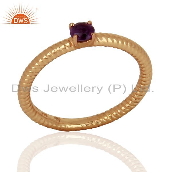 Amethyst Twist Band 925 Sterling Silver Rose Gold Plated Ring Gemstone Jewellery