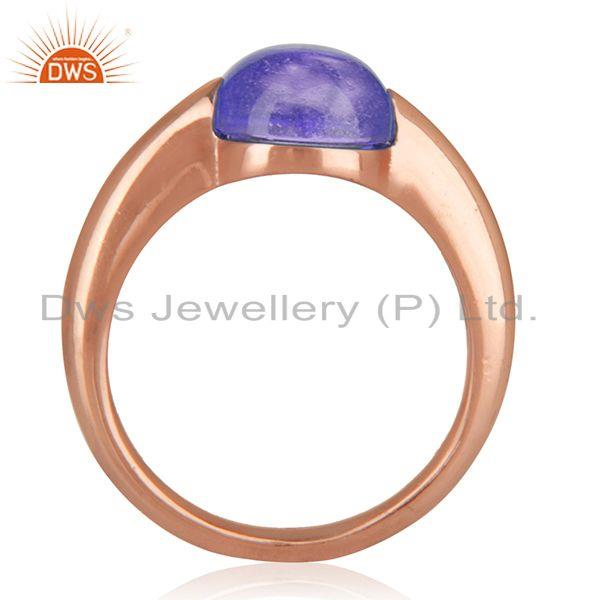 Natural Amethyst Gemstone Rose Gold Plated 925 Silver Ring Jewelry