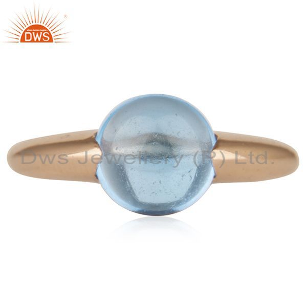 Blue Topaz Eye of the Beholder Tension Sterling Silver Rose Gold Plated  Rings