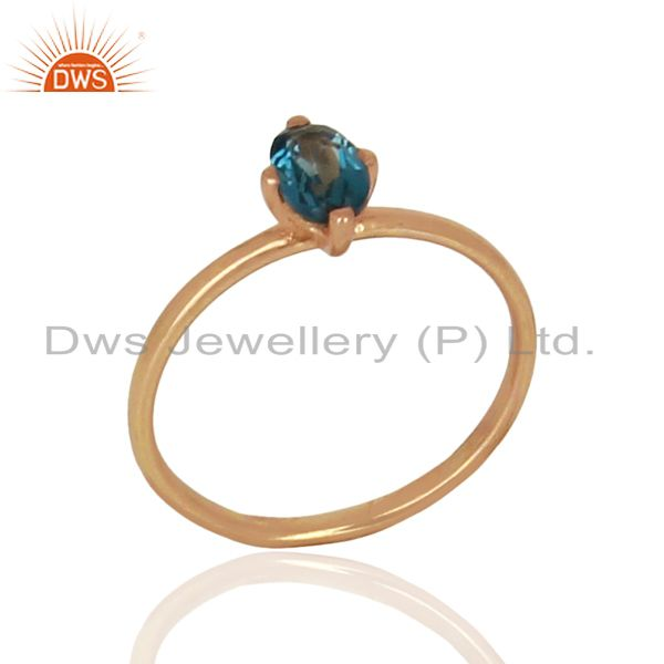 London Blue Topaz Sterling Silver Rose Gold Plated Rings Gemstone Jewellery