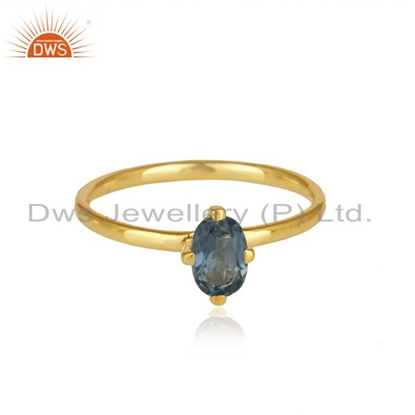 Gold Plated Sterling Silver Iolite Gemstone Ring Manufacturer India
