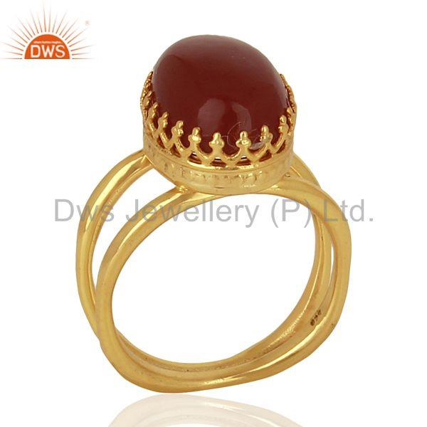 Gold Plated Silver Engagement Ring Carnelian Gemstone Ring Jewelry