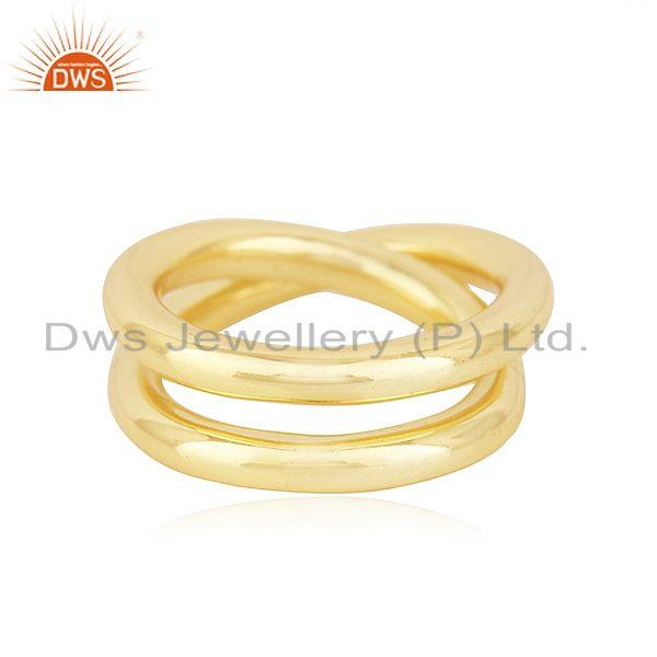 Handmade Simple Wire 925 Silver Yellow Gold Plated Unisex Ring Jewelry Supplier