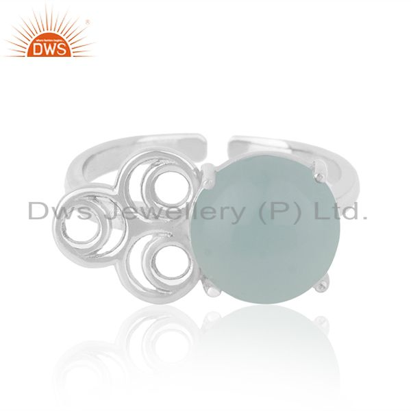 Solid 925 Sterling Silver Chalcedony Gemstone Rings Manufacturers