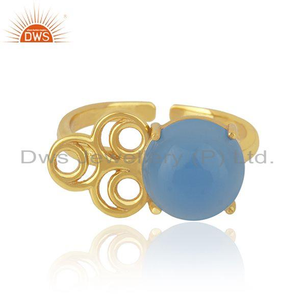 Designer Gold Plated Blue Chalcedony Gemstone Ring Jewelry