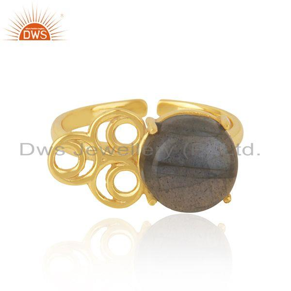 Labradorite Gemstone Girls Gold Plated Silver Ring Jewelry Supplier