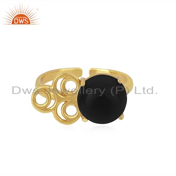 Black Onyx Gemstone Gold Plated 925 Silver Designer Ring Manufacturer India