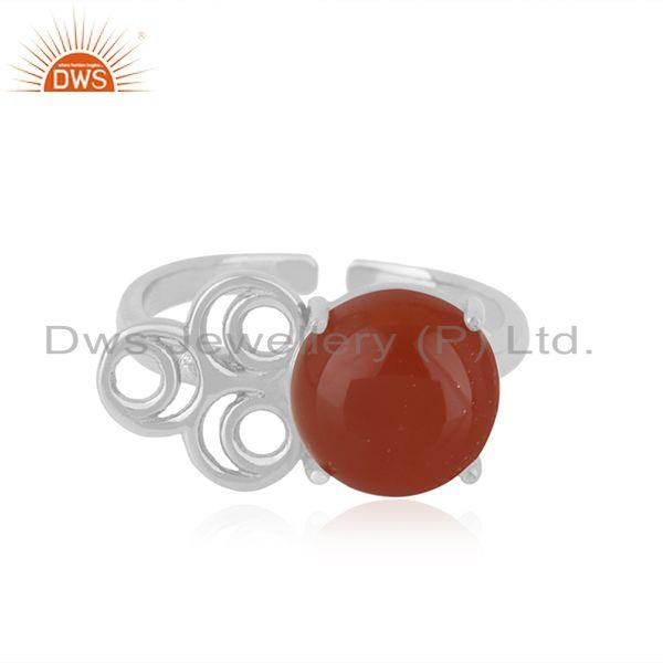 Red Onyx Gemstone Fine Sterling Silver Designer Ring Manufacturers