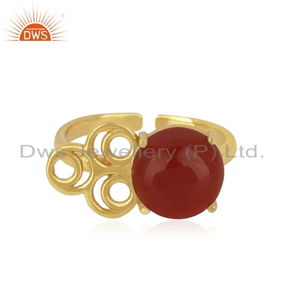18k Gold Plated 925 Sterling Silver Red Onyx Gemstone Wedding Ring Wholesale