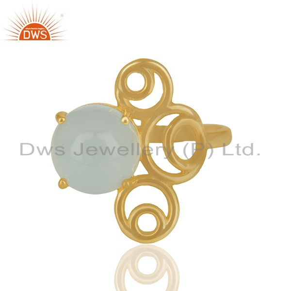 Chalcedony Gemstone 925 Silver Gold Plated Rings Manufacturer