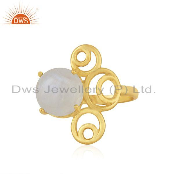 Designer 925 Silver Gold Plated Rainbow Moonstone Ring Manufacturer India