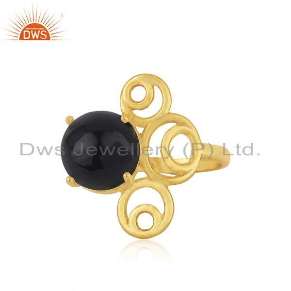 Gold Plated 925 Silver Black Onyx Gemstone Trendy Ring For Girls Jewelry