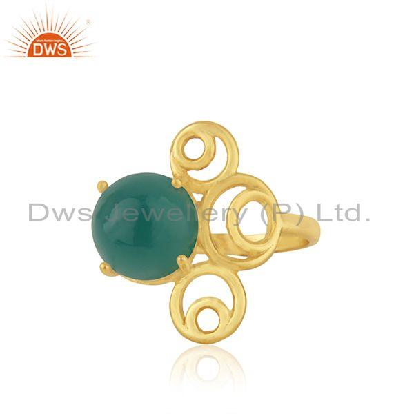 Green Onyx Gemstone 925 Silver Gold Plated Designer Ring Jewelry For Womens