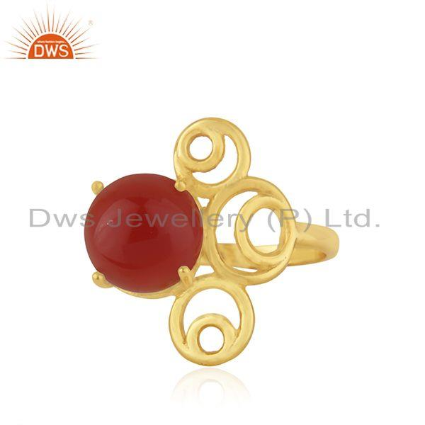 Yellow GOld Plated 925 Silver Red Onyx Gemstone Ring Manufacturer India
