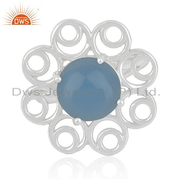 Fine Sterling Silver Floral Design Blue Chalcedony Gemstone Ring Wholesale