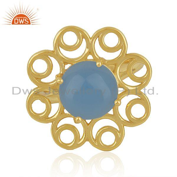 Blue Chalcedony Gemstone Gold Plated Silver Floral Design Ring Manufacturer