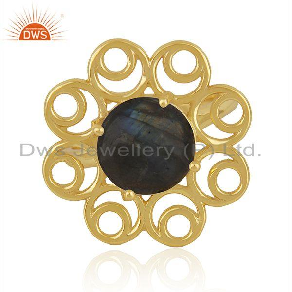 Labradorite Gemstone Gold Plated 925 Silver Floral Design Ring Wholesale