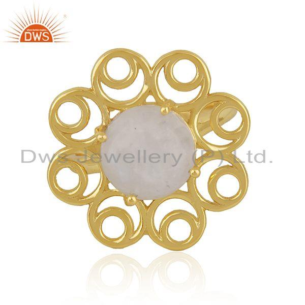Gold Plated 925 Silver Rainbow Moonstone Floral Design Ring for Womens