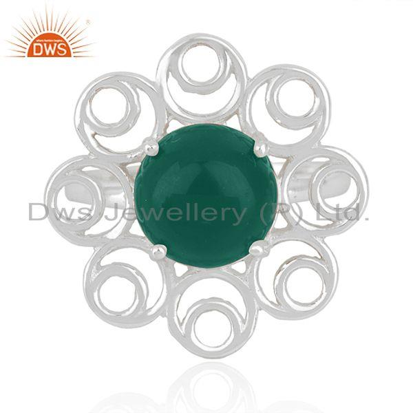 Green Onyx Gemstone Fine Sterling Silver Floral Design Ring Manufacturer India