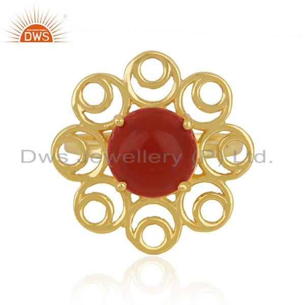 Red Onyx Gemstone Gold Plated 925 Silver Floral Design Ring Manufacturer