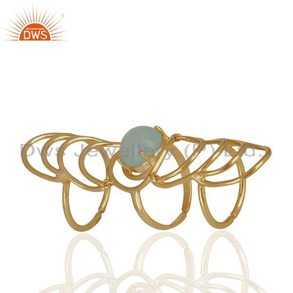 Aqua Gemstone Sterling Silver Gold Plated Knuckle Ring Manufacturers