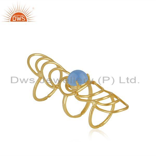 Designer 925 Silver Gold Plated Genuine Gemstone Knuckle Ring Supplier