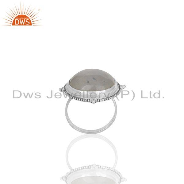 Natural Rainbow Moonstone 925 Silver Cocktail Ring Manufacturer India