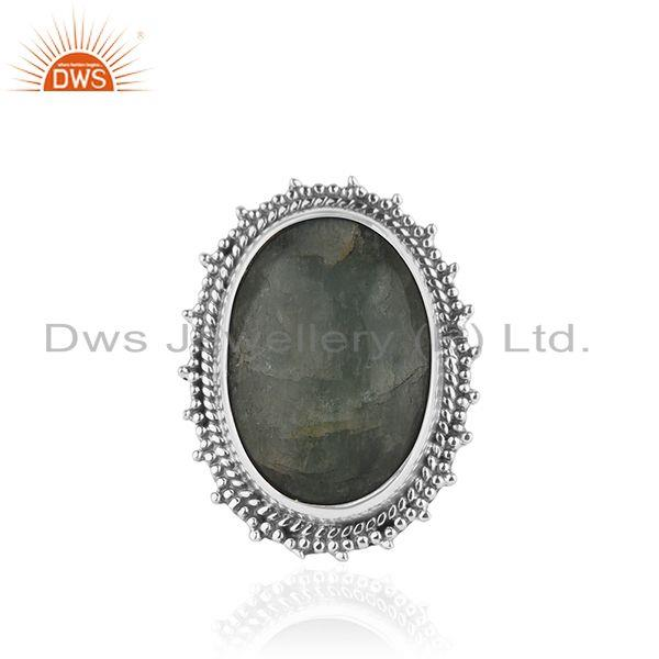 Indian sterling Silver Oxidized Aquamarine Stone Ring Jewelry