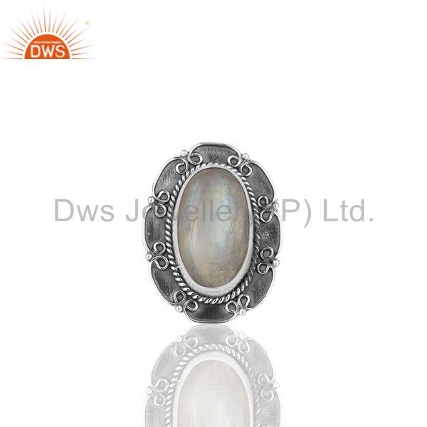Solid 925 Silver Oxidized Rainbow Moonstone Cocktail Rings Manufacturers