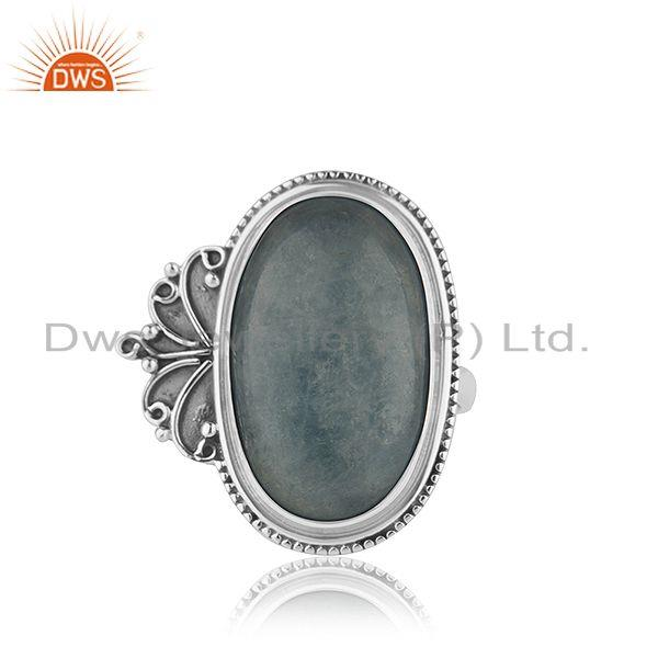 Oxidized Designer Silver Aquamarine Stone Ring Jewelry Supplier