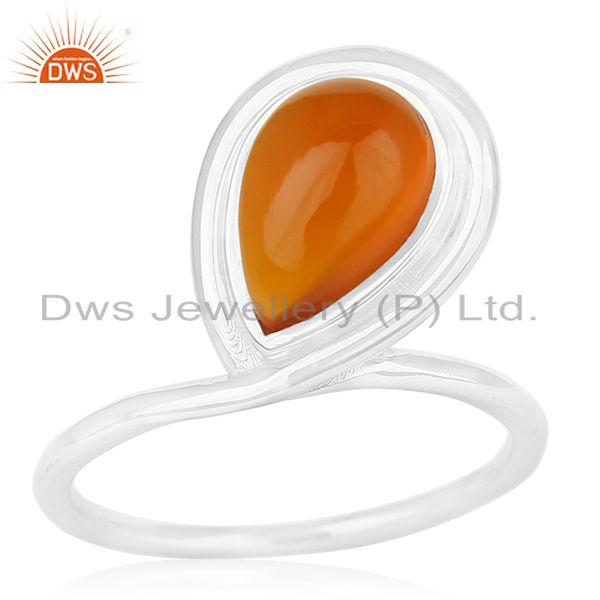 Carnelian Chalcedony Gemstone Sterling Silver Custom Ring Manufacturer for Brand