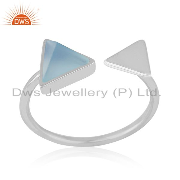 Blue Chalcedony Gemstone 925 Silver Adjustable Ring Manufacturer