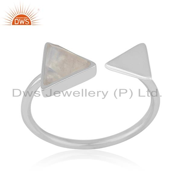 Rainbow Moonstone Genuine 925 Silver Gemstone Triangle Shape Adjustable Ring
