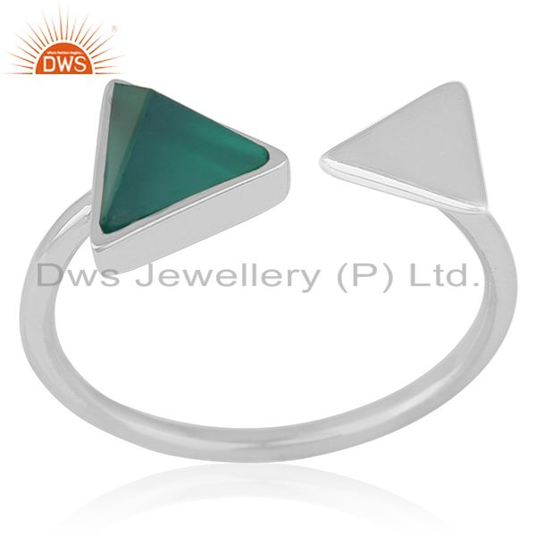 Adjustable 925 Silver Green Onyx Gemstone Ring Jewelry Manufacturer