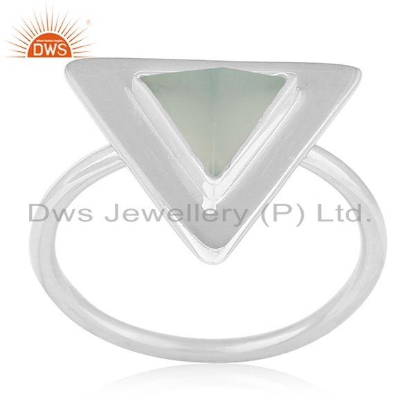 Customized Triangle Shape Sterling Silver Gemstone Ring Manufacturer from India