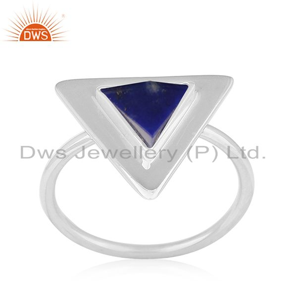 Lapis Lazuli Gemstone Triangle 925 Silver Ring Manufacturer for Brands